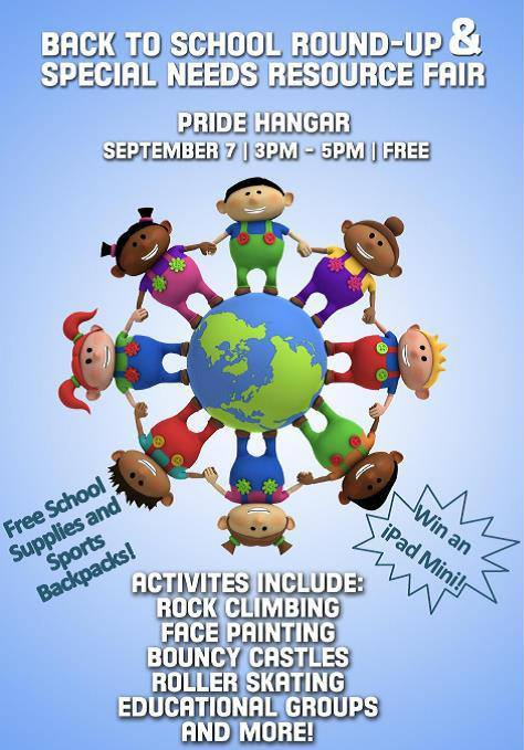 Back to School Round-Up, Saturday, 7 September from 3-5pm at the Pride Hanger